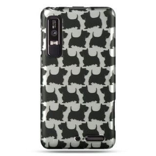 Insten Black/White Dog Hard Snap-on Rubberized Matte Case Cover For Motorola Droid 3