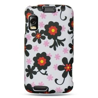 Insten White/Black Daisy Hard Snap-on Rubberized Matte Case Cover For Motorola Atrix 4G MB860