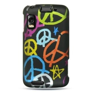Insten Black Peace Hard Snap-on Rubberized Matte Case Cover For Motorola Atrix 4G MB860