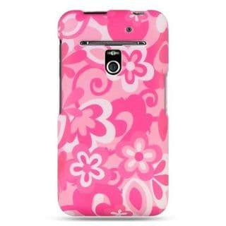 Insten Pink/White Flowers Hard Snap-on Rubberized Matte Case Cover For LG Esteem MS910/Revolution VS910