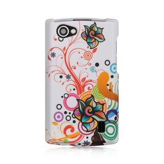 Insten White/Orange Autumn Flower Hard Snap-on Rubberized Matte Case Cover For LG Optimus M+ MS695