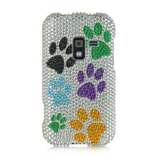 Insten White/Orange Dog Paws Hard Snap-on Diamond Bling Case Cover For Samsung Galaxy Attain 4G SCH-R920