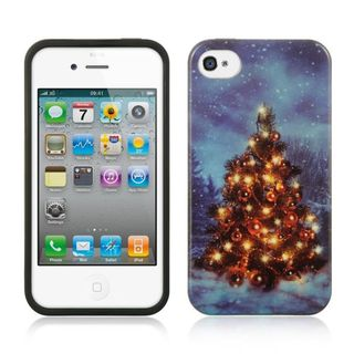 Insten Blue Christmas TPU Rubber Candy Skin Case Cover For Apple iPhone 4/4S