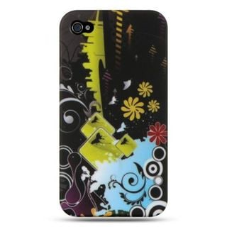 Insten Black/Yellow Butterfly TPU Rubber Candy Skin Case Cover For Apple iPhone 4/4S