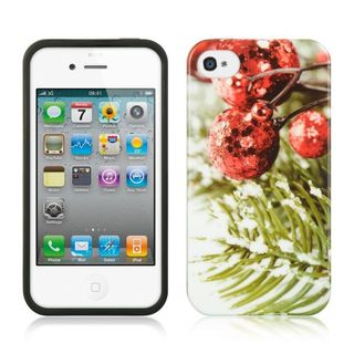 Insten Red/Green Christmas TPU Rubber Candy Skin Case Cover For Apple iPhone 4/4S