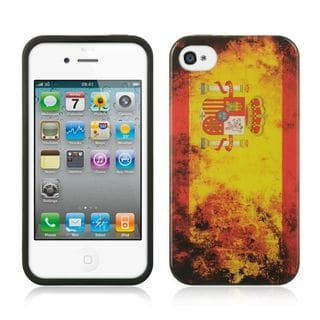 Insten Orange Spain TPU Rubber Candy Skin Case Cover For Apple iPhone 4/4S