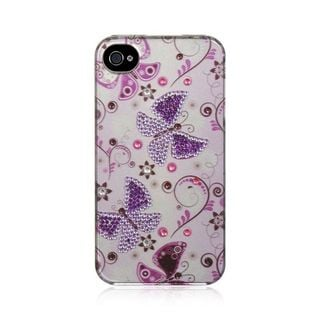 Insten White/Purple Butterfly Hard Snap-on Rubberized Matte Case Cover with Diamond For Apple iPhone 4/4S