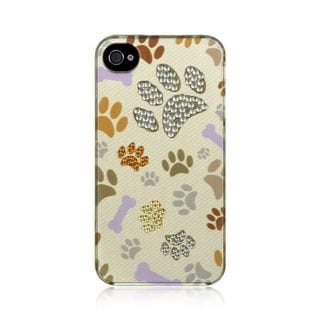 Insten White/Brown Dog Paws Hard Snap-on Rubberized Matte Case Cover with Diamond For Apple iPhone 4/4S