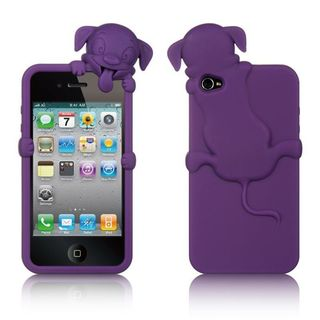 Insten Purple Soft Silicone Skin Rubber Case Cover with Diamond For Apple iPhone 4/4S