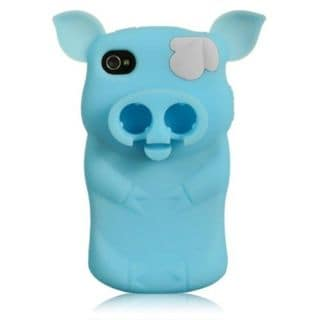 Insten Blue Pig Silicone Skin Gel Rubber Case Cover For Apple iPhone 4/4S