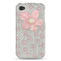 Insten White/Pink Flowers Hard Snap-on Rhinestone Bling Case Cover For Apple iPhone 4/4S