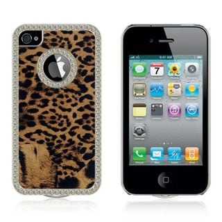 Insten Brown/Black Leopard Hard Snap-on Rubberized Matte Case Cover with Diamond For Apple iPhone 4/4S