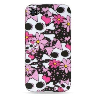 Insten Hot Pink/Black Skull TPU Rubber Candy Skin Case Cover For Apple iPhone 4/4S