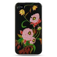 Insten Black/Pink Peony Hard Snap-on Rubberized Matte Case Cover For Apple iPhone 4/4S