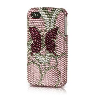 Insten Pink Butterfly Hard Snap-on Diamond Bling Case Cover For Apple iPhone 4/4S
