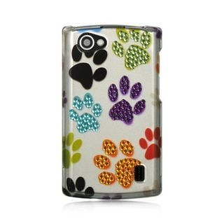 Insten White/Purple Dog Paws Hard Snap-on Rubberized Matte Case Cover For LG Optimus M+ MS695