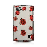 Insten White/Red Ladybug Hard Snap-on Rubberized Matte Case Cover For LG Optimus M+ MS695