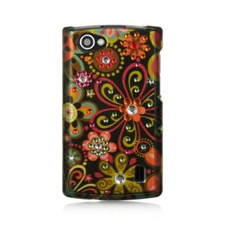 Insten Brown/Black Flowers Hard Snap-on Rubberized Matte Case Cover For LG Optimus M+ MS695