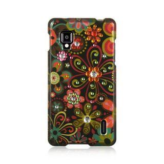 Insten Black/Orange Flowers Hard Snap-on Rubberized Matte Case Cover For LG Optimus G LS970 Sprint
