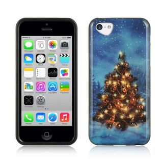 Insten Blue/Green Christmas TPU Rubber Candy Skin Case Cover For Apple iPhone 5C