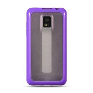 Insten Clear/Purple TPU Rubber Candy Skin Case Cover For LG G2x
