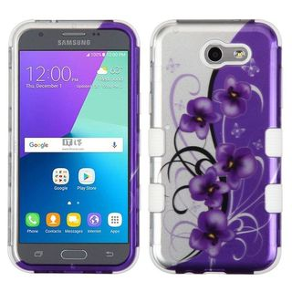 Insten Purple/White Twilight Petunias Tuff Hard PC/ Silicone Dual Layer Hybrid Case Cover For Samsung Galaxy J3 (2017)