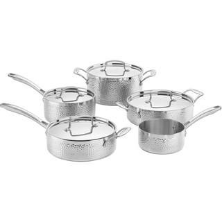 Cuisinart Hammered Collection Tri-Ply Stainless Steel 9-Piece Cookware Set