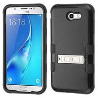 Insten Black Tuff Hard Snap-on Dual Layer Hybrid Case Cover with Stand For Samsung Galaxy J7 (2017)/J7 Perx/J7 Sky Pro/J7 V
