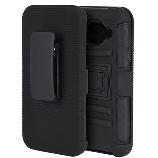 Insten Black Hard PC/ Silicone Dual Layer Hybrid Case Cover with Holster For Samsung Galaxy J5 (2015)