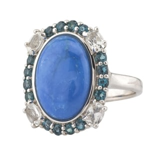 Pangea Mines Ceruleite and London Blue and White Topaz Ring
