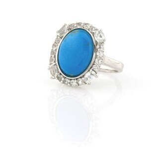 Pangea Mines Ceruleite and White Topaz Ring - Blue