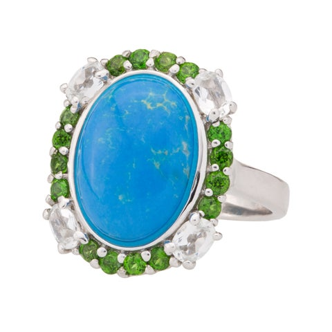 Pangea Mines Ceruleite, Chrome Diopside and White Topaz Ring - Blue