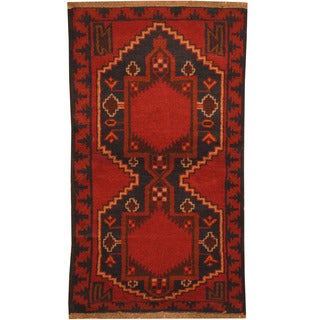 Herat Oriental Afghan Hand-knotted Tribal Balouchi Wool Rug (2'7 x 4'7)