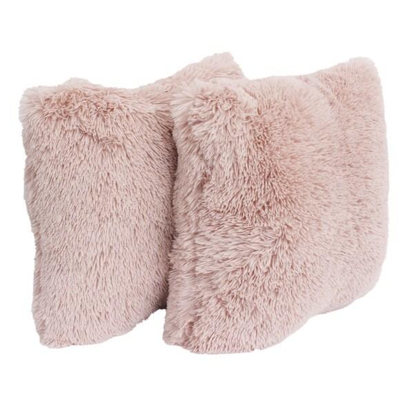Thro Chubby Faux Fur 20-inch Throw Pillows (Set of 2)
