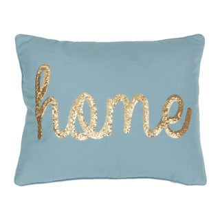 """HOME"" Sequin Script Faux Linen Decorative Throw Pillow"