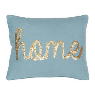 Thro 'Home' Sequin Script Blue Faux Linen Throw Pillow