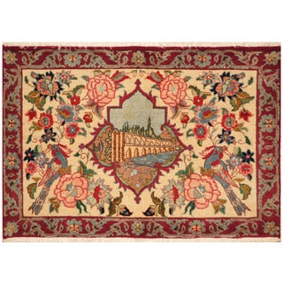 Herat Oriental Persian Hand-knotted Kashan Wool Area Rug (2' x 2'11)