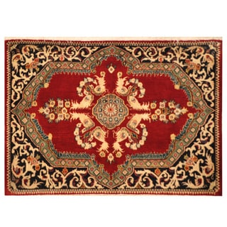 Herat Oriental Persian Hand-knotted Kashan Wool Area Rug (2'4 x 3'5)