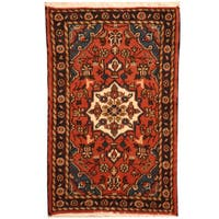 Herat Oriental Persian Hand-knotted Hamadan Wool Area Rug (1'10 x 2'10)