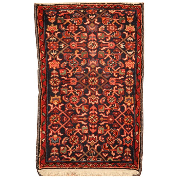 Herat Oriental Persian Hand-knotted Mahal Wool Area Rug (1'10 x 2'11)