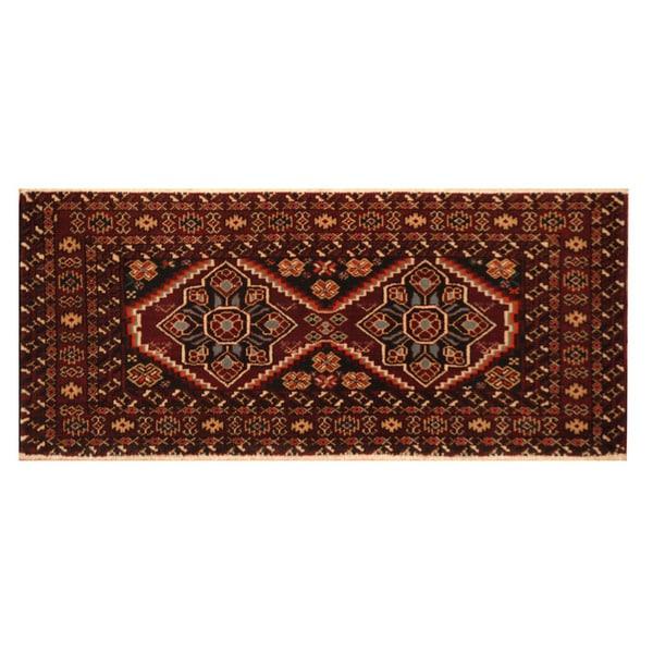 Handmade Herat Oriental Persian Turkoman Wool Area Rug (Iran) - 1'6 x 3'6