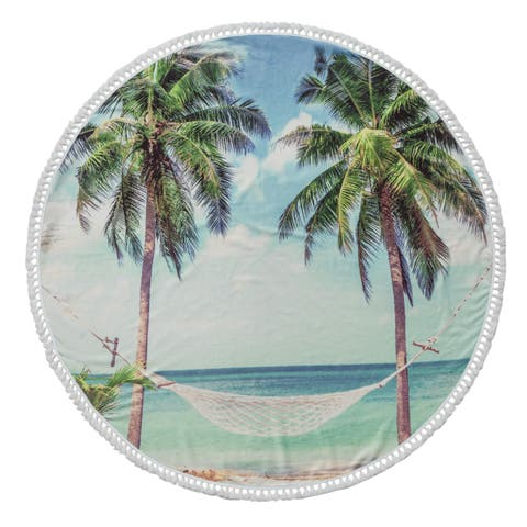 Summer Turkish Cotton 60-inch Round Beach Towel - 60 Inches