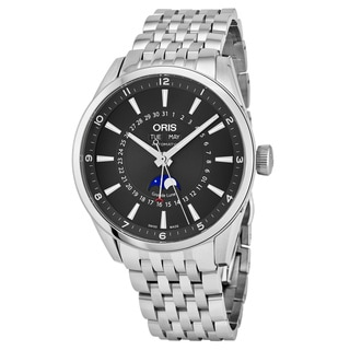 Oris Men's 915 7643 4034 MB 'Artix' Black Dial Stainless Steel Day Date Moon phase Swiss Automatic Watch