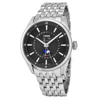 Oris Men's  'Artix' Black Dial Stainless Steel Day Date Moon phase Swiss Automatic Watch