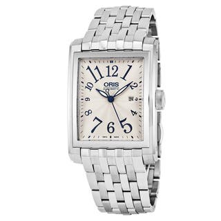 Oris Men's 561 7657 4061 MB 'Rectangular' Silver Dial Stainless Steel Swiss Automatic Watch|https://ak1.ostkcdn.com/images/products/16762719/P23071851.jpg?impolicy=medium