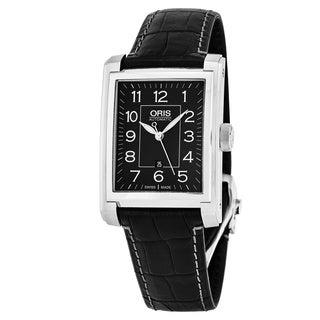 Oris Men's 561 7657 4034 LS 'Rectangular' Black Dial Black Leather Strap Swiss Automatic Watch