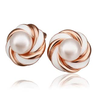 "Hakbaho Jewelry Rose Gold Plated Brass ""Brown Vanilla Swirl"" With Faux Pearl Center Piece Studs