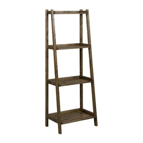 NewRidge Home Solid Wood Dunnsville 4-Tier Leaning Ladder Shelf, Bookcase & Display