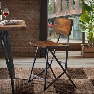 Carbon Loft Hader Reclaimed Brown and Gunmetal Counter Stool