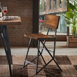INK+IVY Trestle Reclaimed Brown/ Gunmetal Counter Stool
